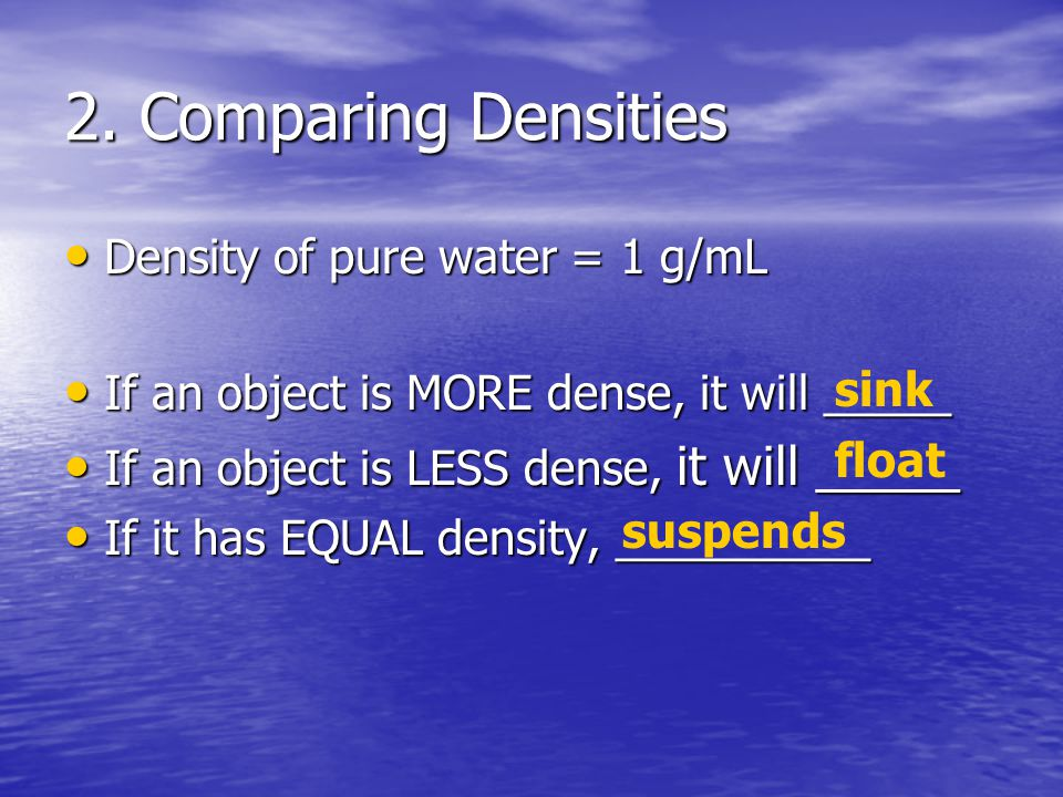 2. Comparing Densities Density of pure water = 1 g/mL