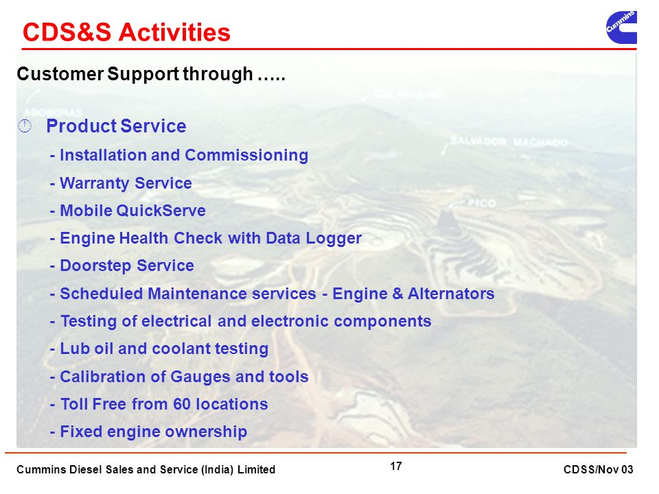 CDS&S Activities Customer Support through ….. Product Service