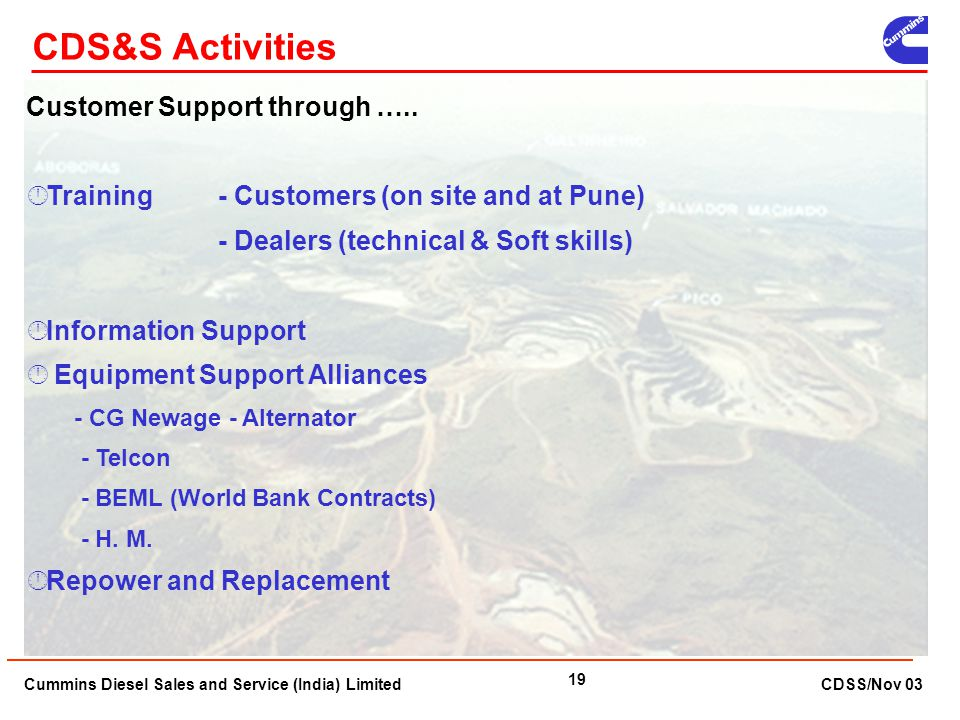 CDS&S Activities Customer Support through …..
