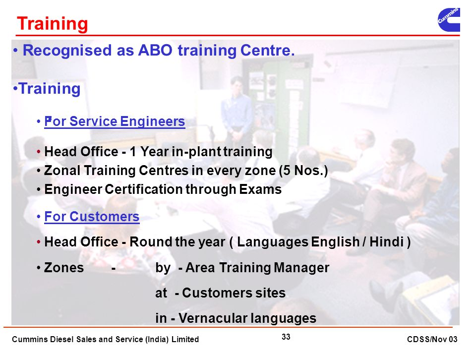 Training Recognised as ABO training Centre. Training