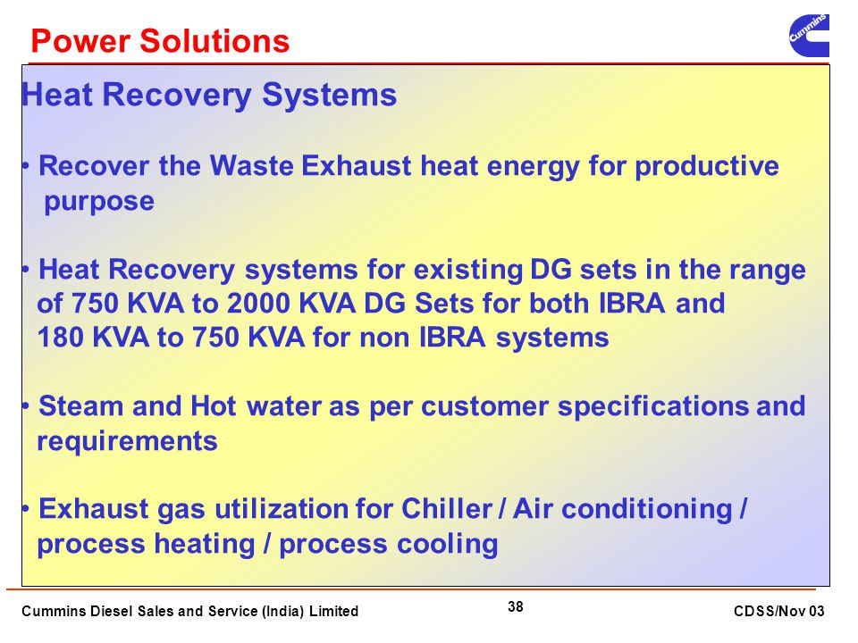 Power Solutions Heat Recovery Systems