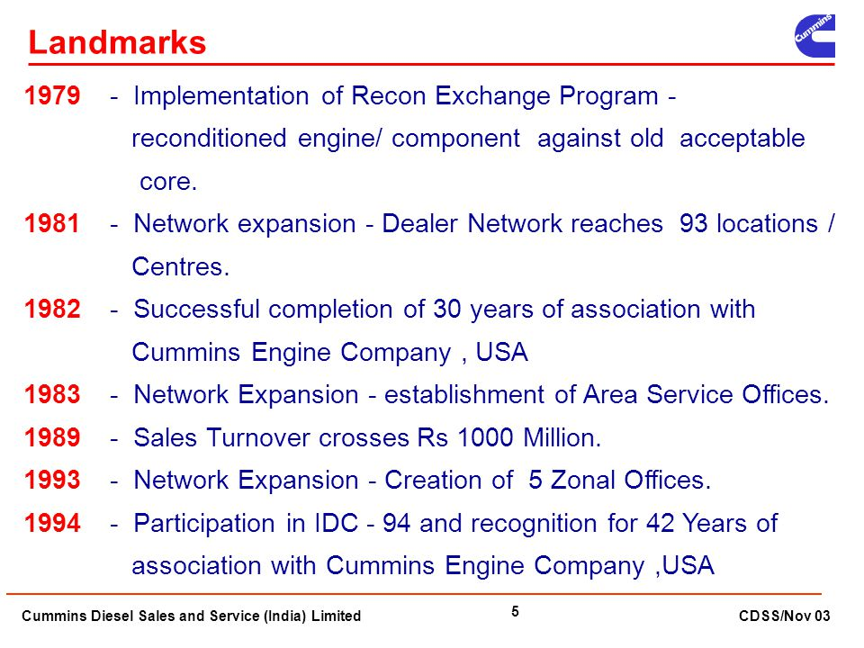 Landmarks 1979 - Implementation of Recon Exchange Program - reconditioned engine/ component against old acceptable core.