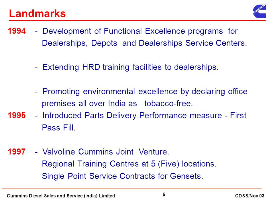 Landmarks 1994 - Development of Functional Excellence programs for Dealerships, Depots and Dealerships Service Centers.