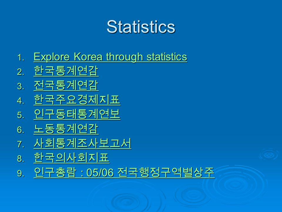 Statistics Explore Korea through statistics 한국통계연감 전국통계연감 한국주요경제지표