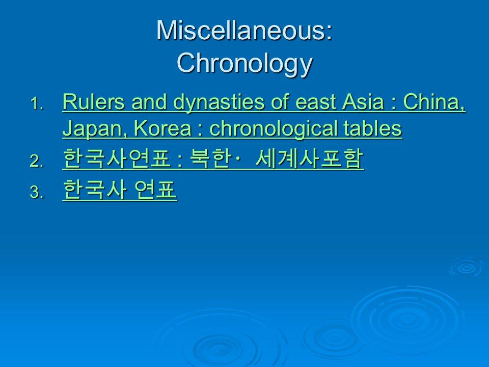 Miscellaneous: Chronology