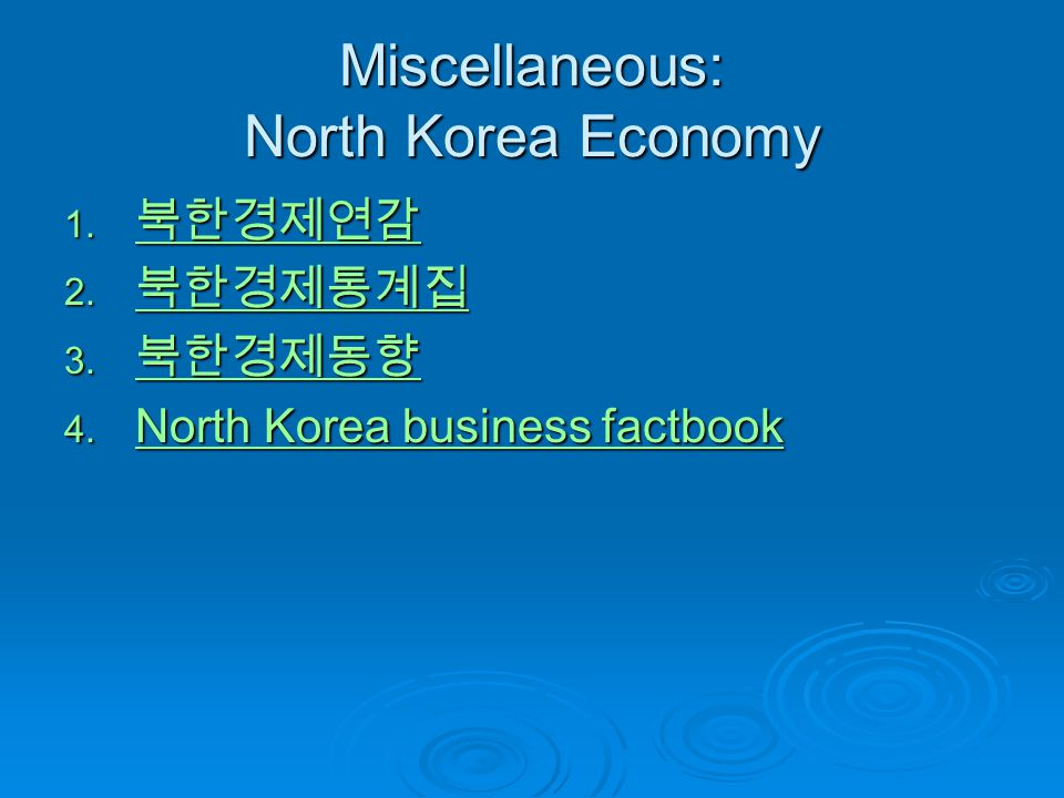 Miscellaneous: North Korea Economy