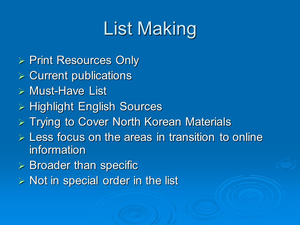 List Making Print Resources Only Current publications Must-Have List