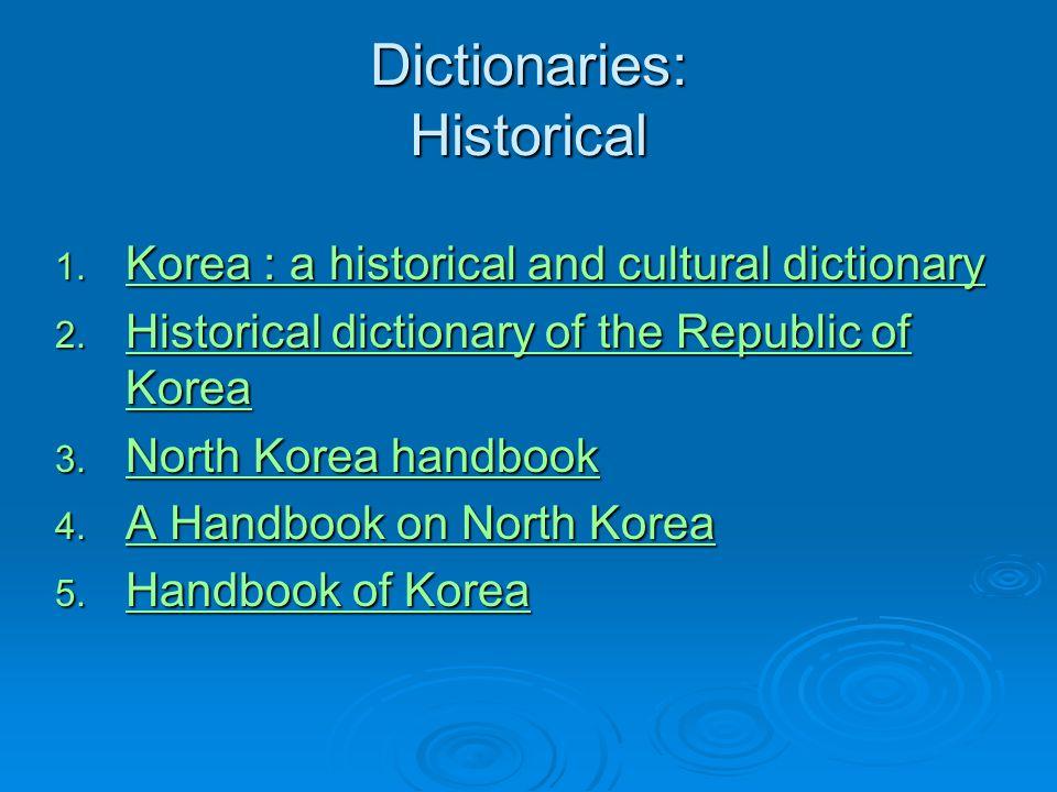 Dictionaries: Historical