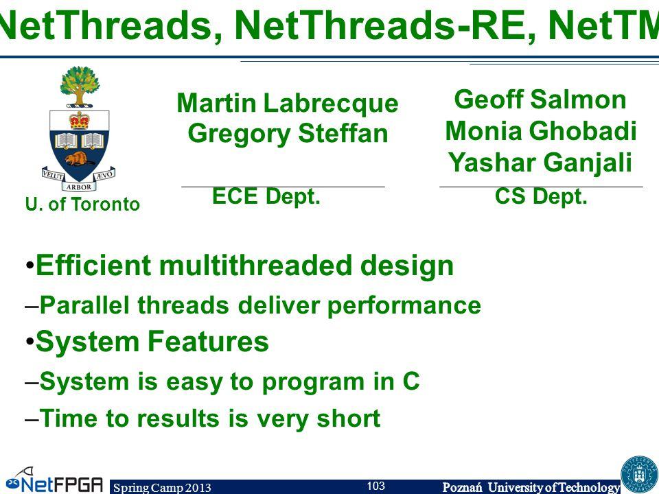NetThreads, NetThreads-RE, NetTM