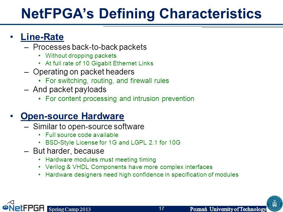 NetFPGA's Defining Characteristics