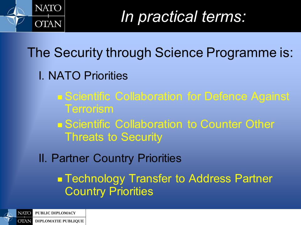 In practical terms: The Security through Science Programme is: