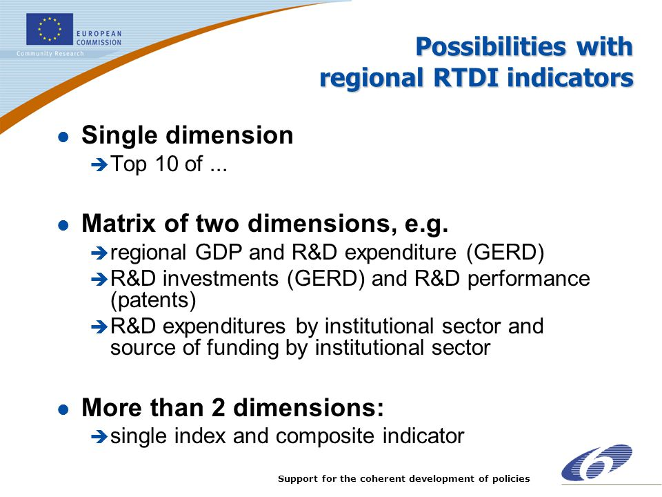 Possibilities with regional RTDI indicators