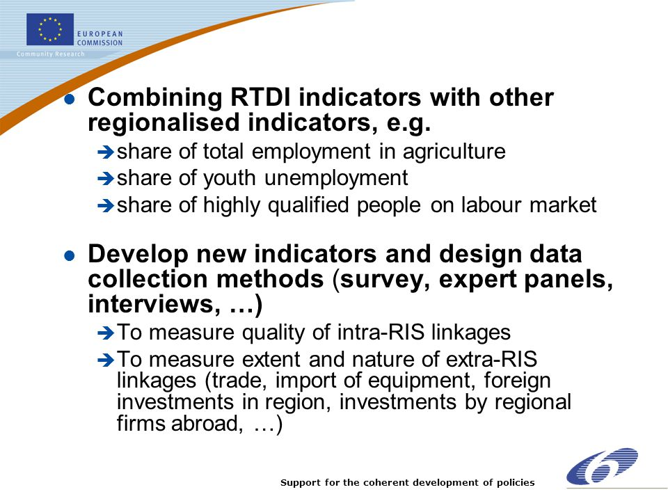 Combining RTDI indicators with other regionalised indicators, e.g.