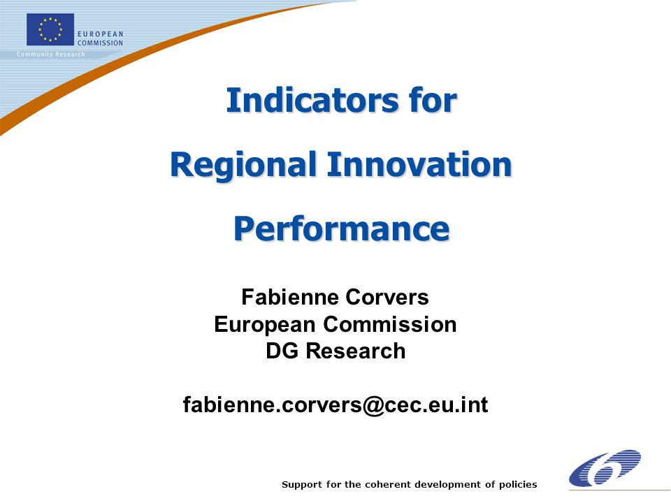 Indicators for Regional Innovation Performance