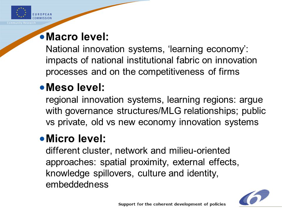Macro level: National innovation systems, 'learning economy': impacts of national institutional fabric on innovation processes and on the competitiveness of firms