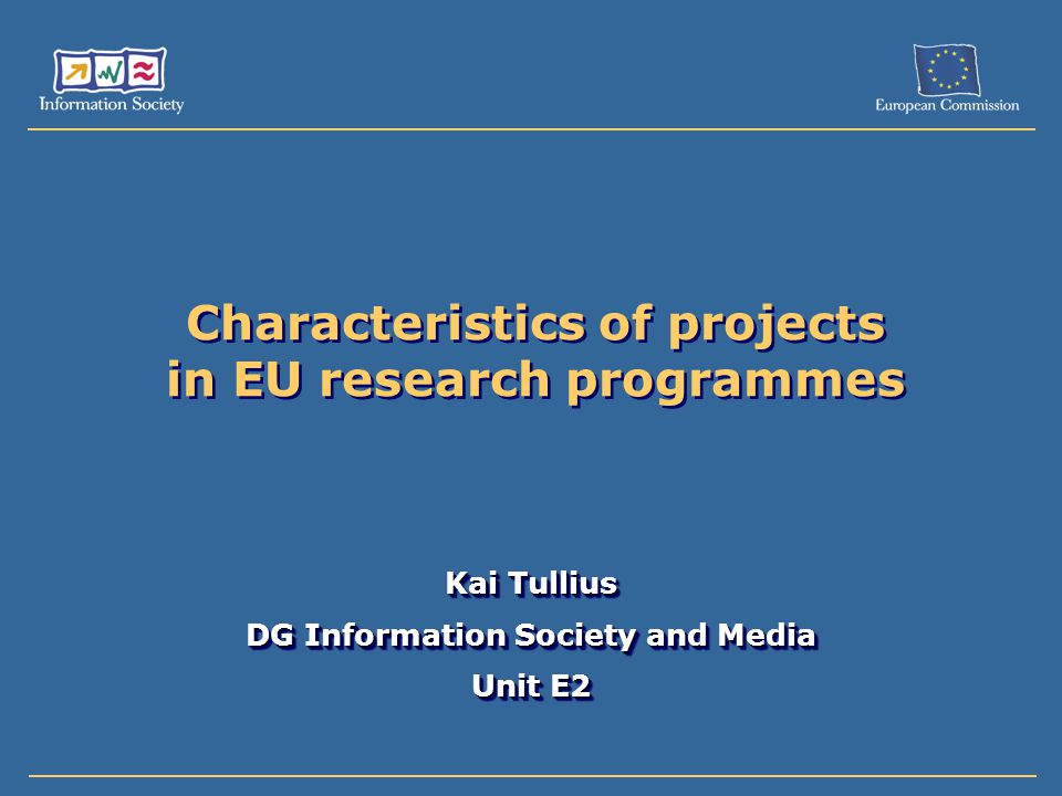 Characteristics of projects in EU research programmes