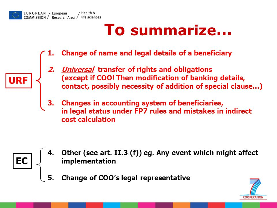 To summarize… URF EC Change of name and legal details of a beneficiary