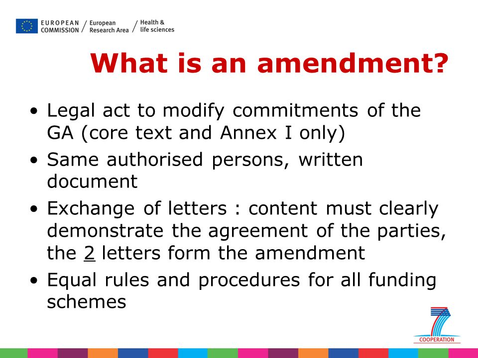 What is an amendment Legal act to modify commitments of the GA (core text and Annex I only) Same authorised persons, written document.