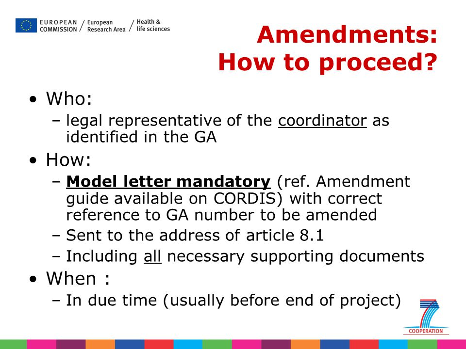 Amendments: How to proceed