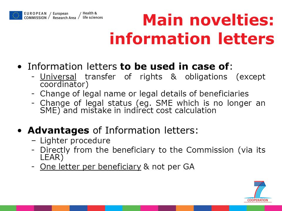 Main novelties: information letters