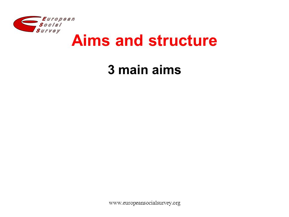 Aims and structure 3 main aims www.europeansocialsurvey.org