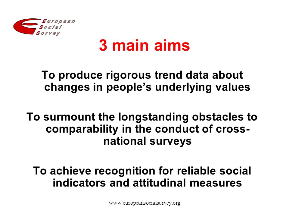 3 main aims To produce rigorous trend data about changes in people's underlying values.
