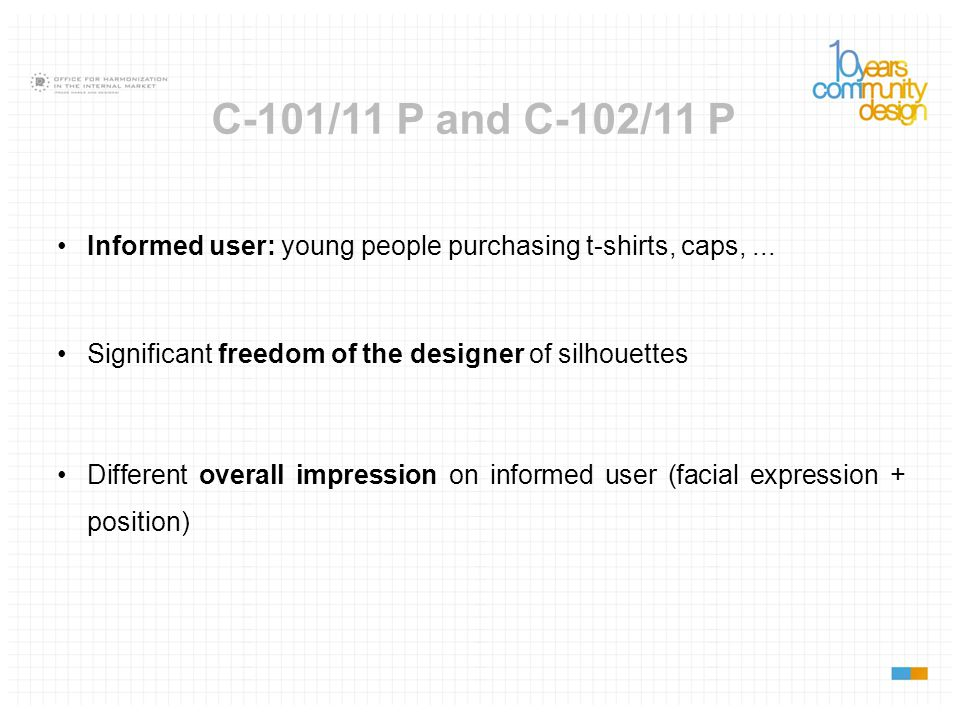 C-101/11 P and C-102/11 P Informed user: young people purchasing t-shirts, caps, ... Significant freedom of the designer of silhouettes.