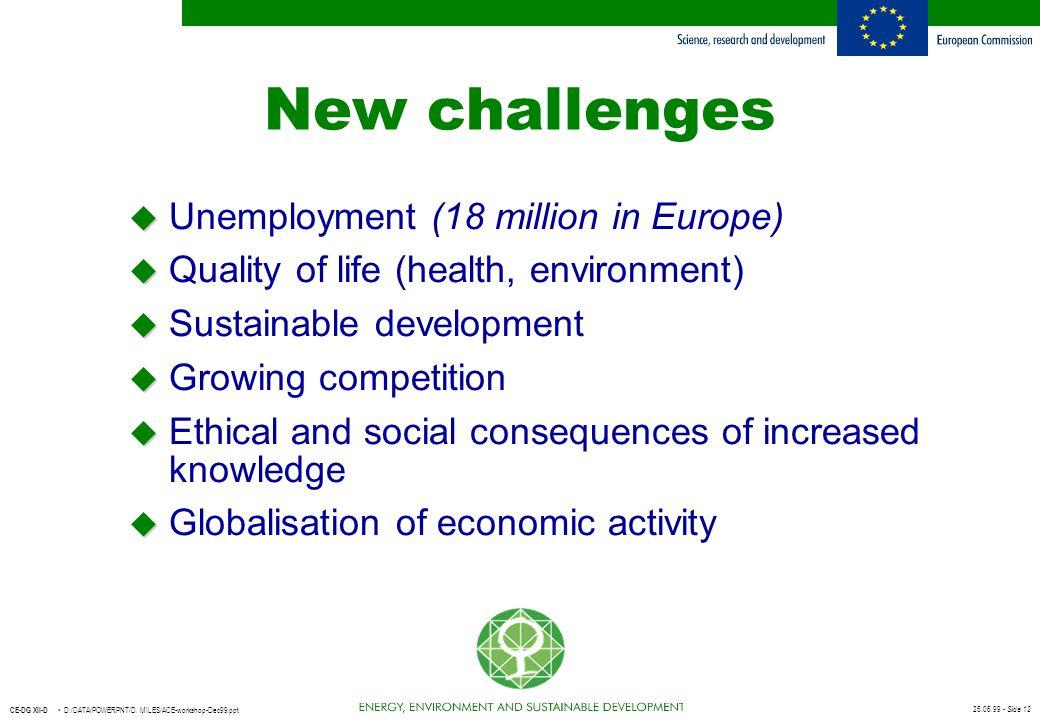 New challenges Unemployment (18 million in Europe)