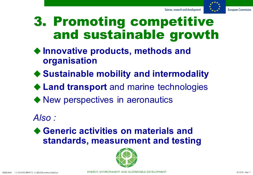 3. Promoting competitive and sustainable growth