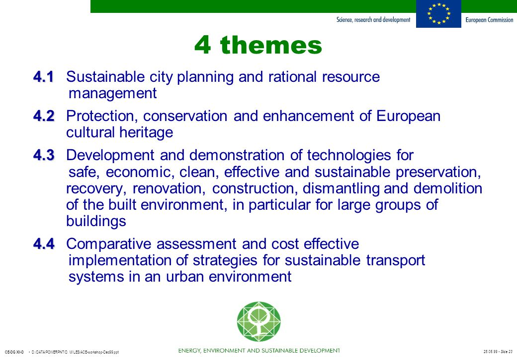 4 themes 4.1 Sustainable city planning and rational resource management.