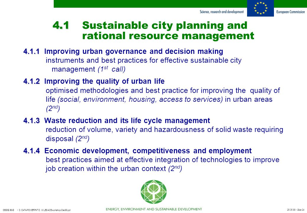4.1 Sustainable city planning and rational resource management