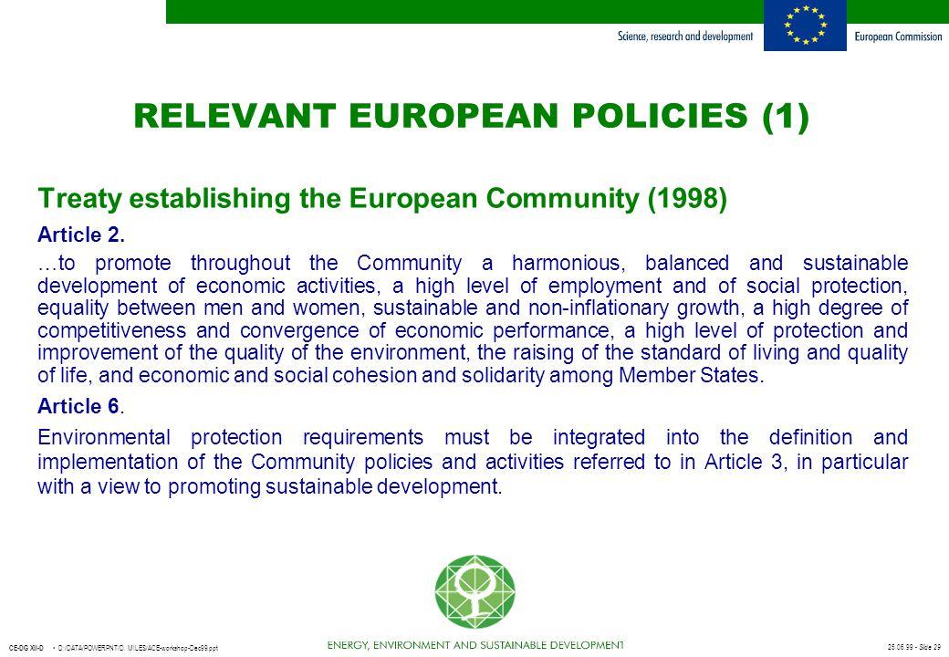 RELEVANT EUROPEAN POLICIES (1)