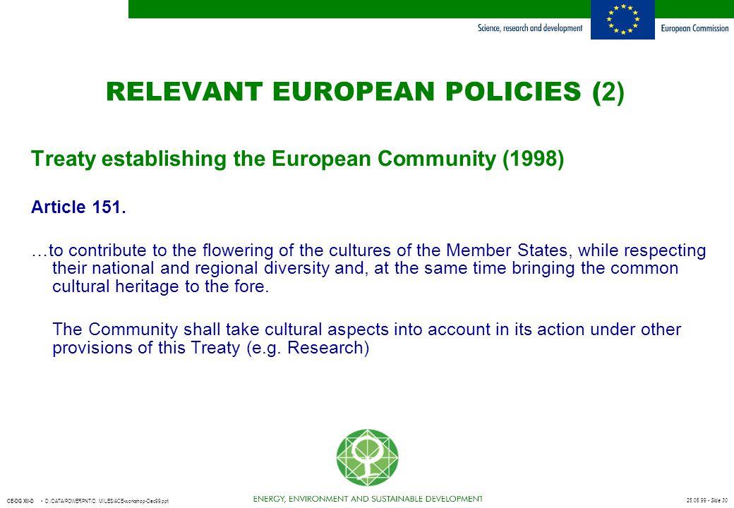 RELEVANT EUROPEAN POLICIES (2)