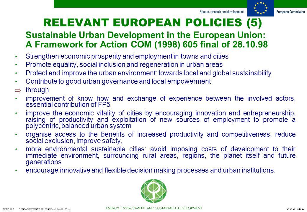 RELEVANT EUROPEAN POLICIES (5)