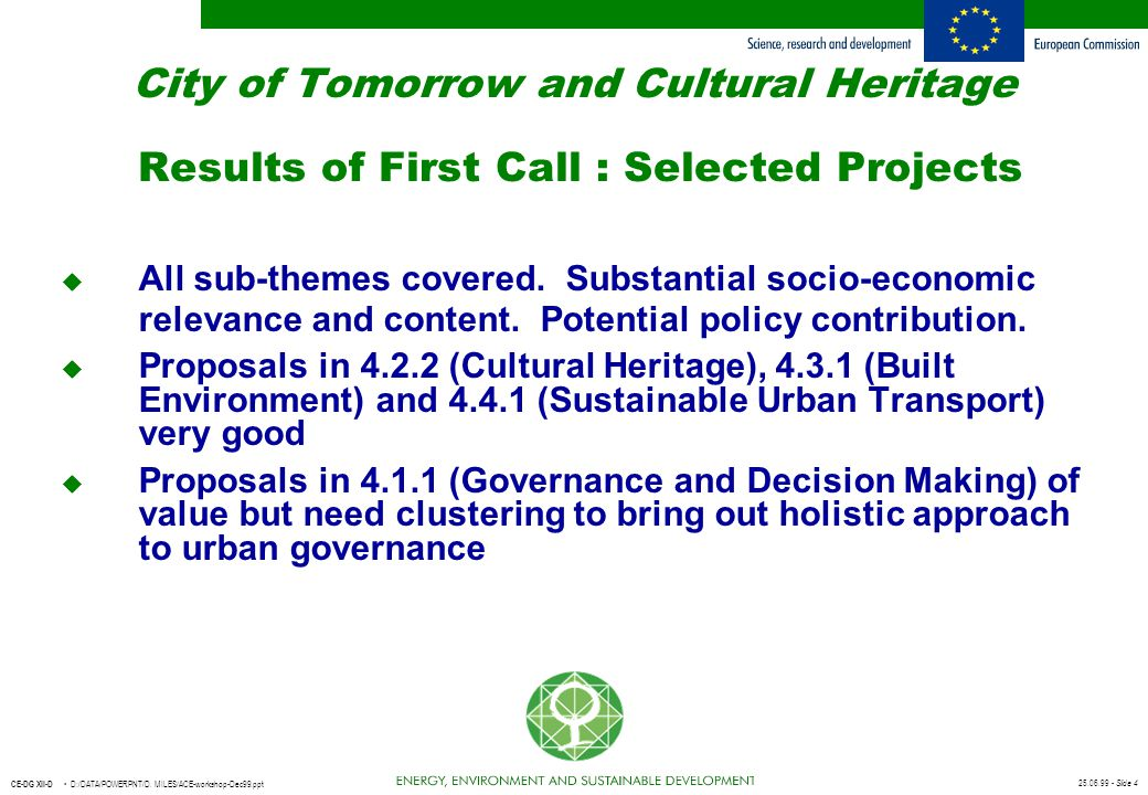 City of Tomorrow and Cultural Heritage Results of First Call : Selected Projects