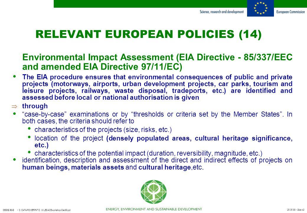 RELEVANT EUROPEAN POLICIES (14)