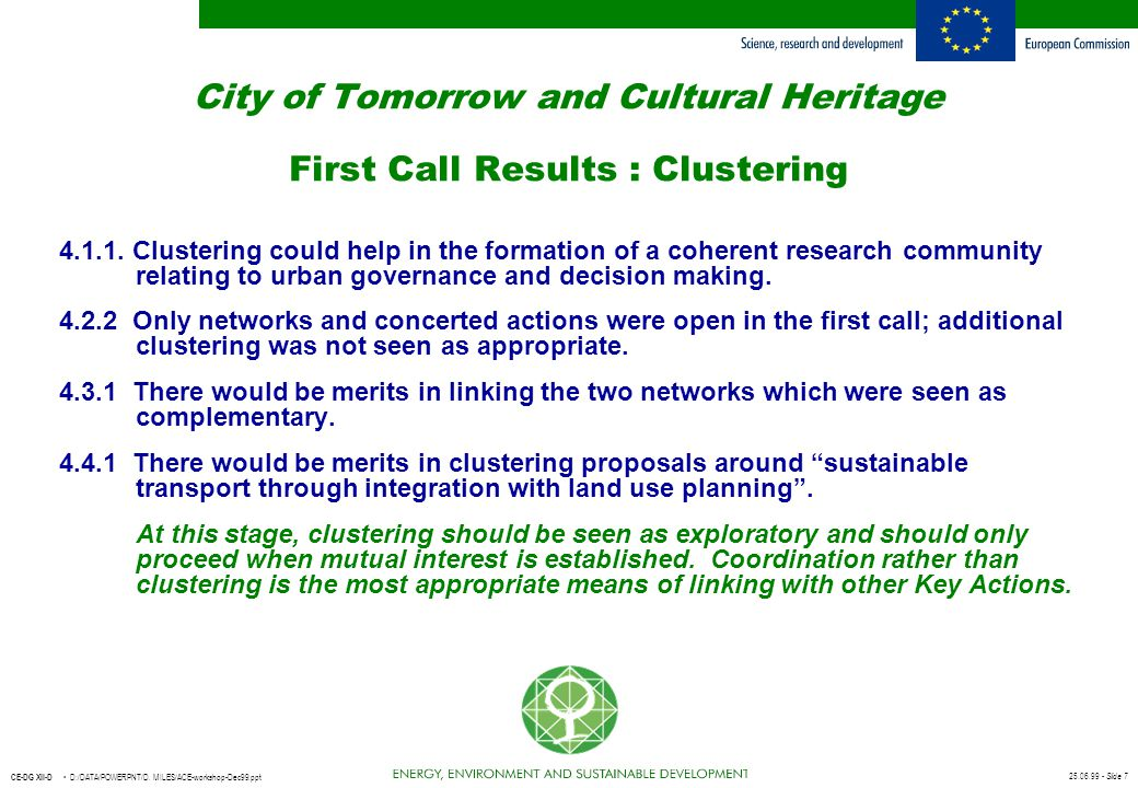 City of Tomorrow and Cultural Heritage First Call Results : Clustering