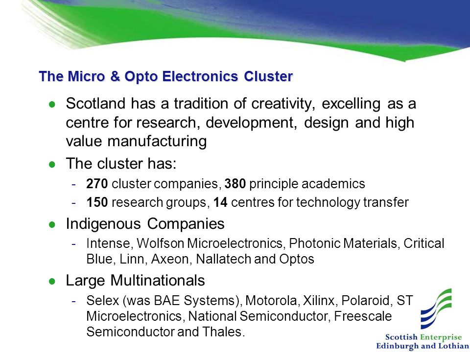 The Micro & Opto Electronics Cluster