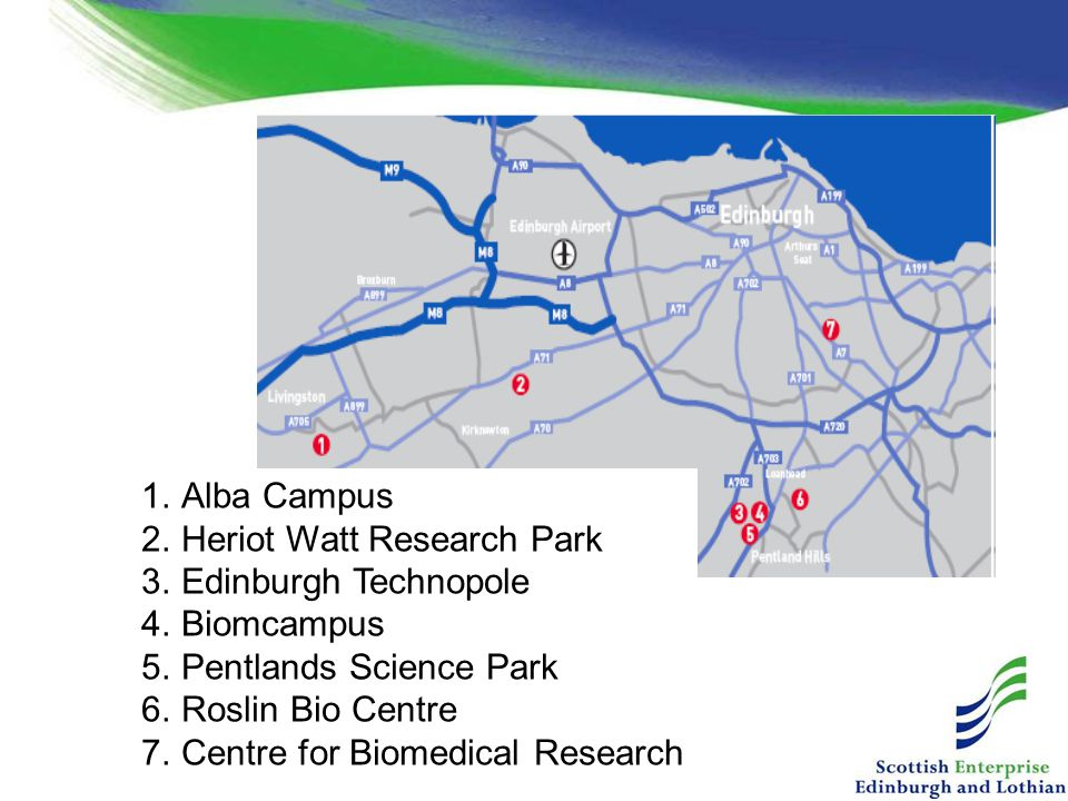Alba Campus Heriot Watt Research Park. Edinburgh Technopole. Biomcampus. Pentlands Science Park.