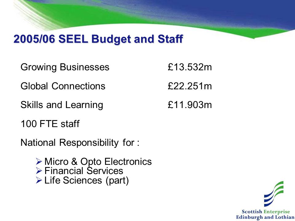 2005/06 SEEL Budget and Staff Growing Businesses £13.532m