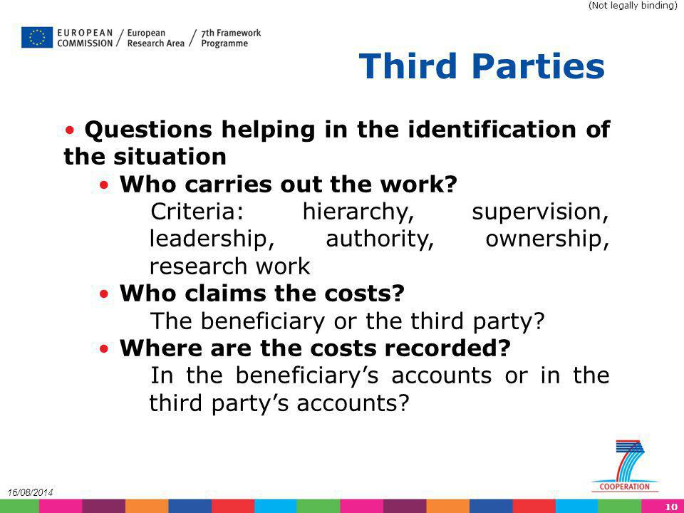 Third Parties Questions helping in the identification of the situation