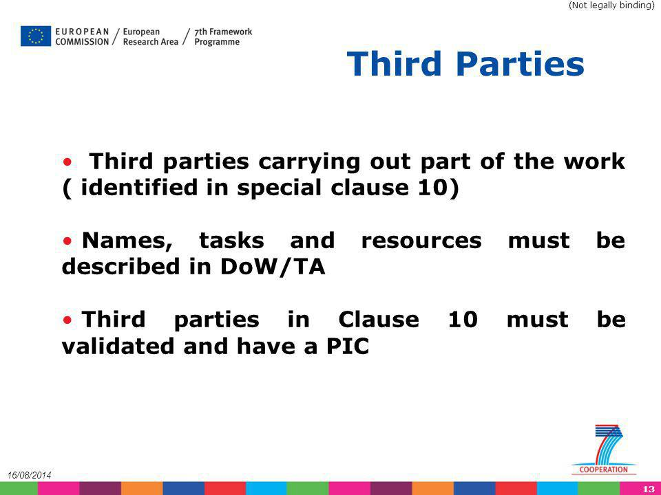 (Not legally binding) Third Parties. Third parties carrying out part of the work ( identified in special clause 10)