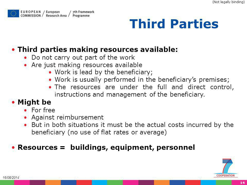 Third Parties Third parties making resources available: Might be