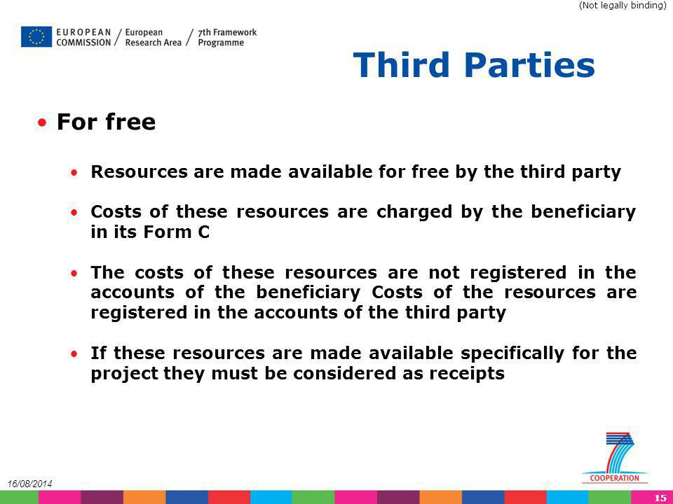 (Not legally binding) Third Parties. For free. Resources are made available for free by the third party.