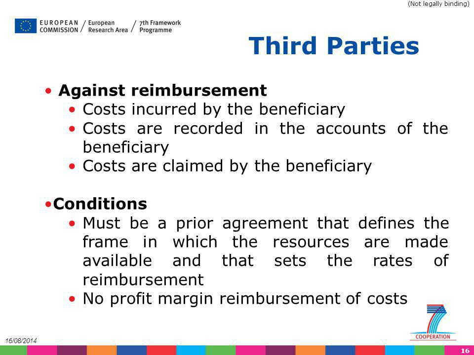 Third Parties Against reimbursement Costs incurred by the beneficiary