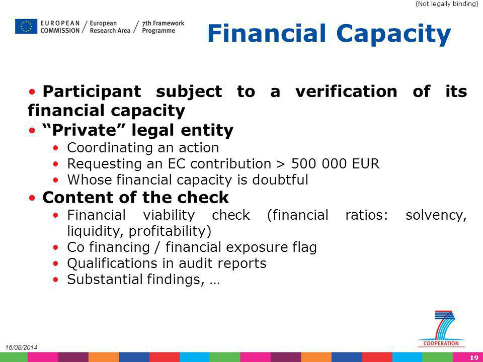 (Not legally binding) Financial Capacity. Participant subject to a verification of its financial capacity.