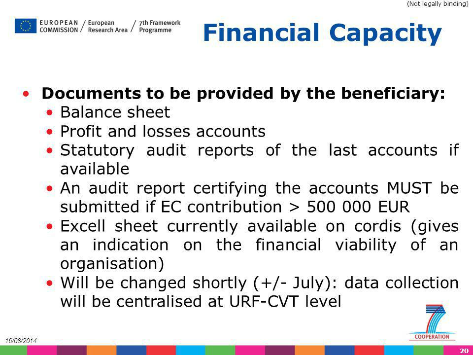 Financial Capacity Documents to be provided by the beneficiary: