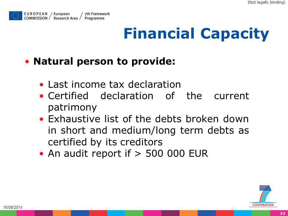 Financial Capacity Natural person to provide: