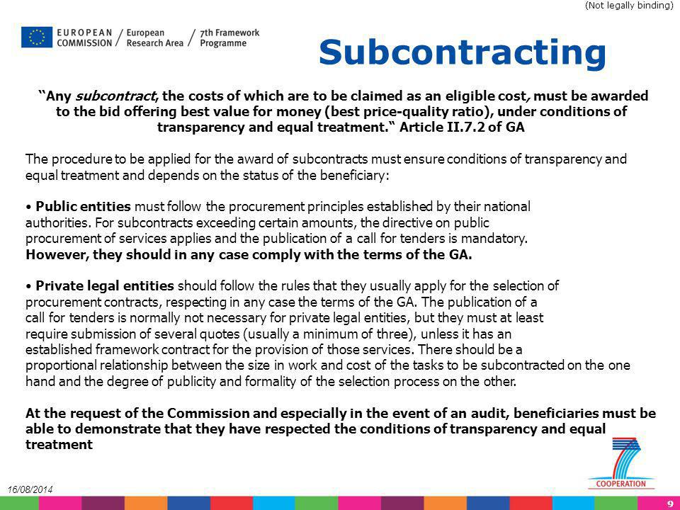(Not legally binding) Subcontracting.