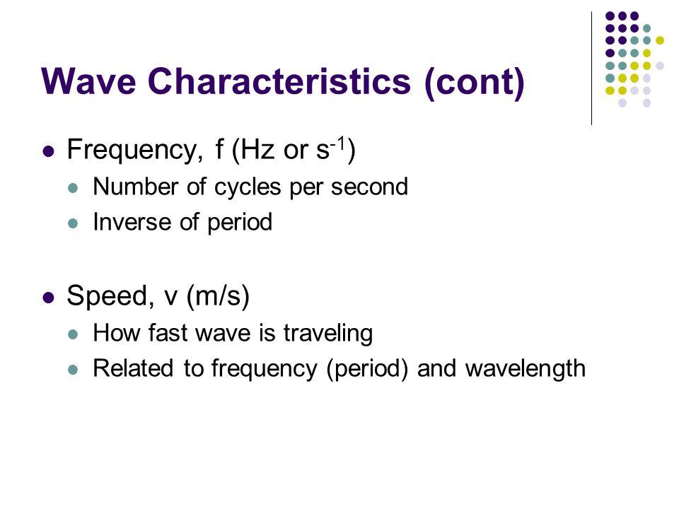 Wave Characteristics (cont)